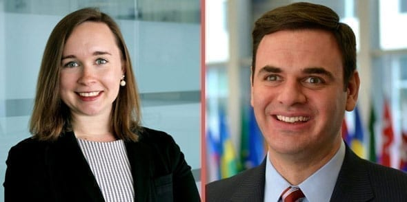 abigail grace left and sean misko right worked with the whistleblower at the white house before joining adam schiff s staff