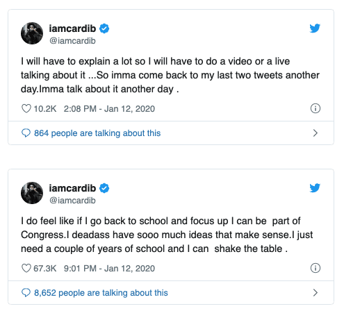"""Rapper Cardi B Says """"I think I Want to Be a Politician,"""" Vows """"I can be part of Congress"""""""
