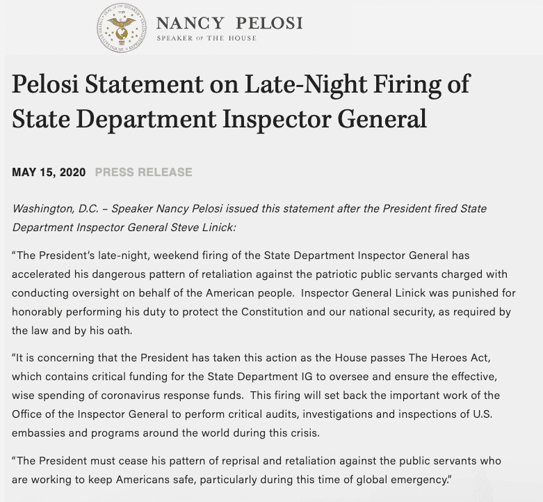 BREAKING: Trump ousts State Department watchdog, Pelosi Releases Statement in Response