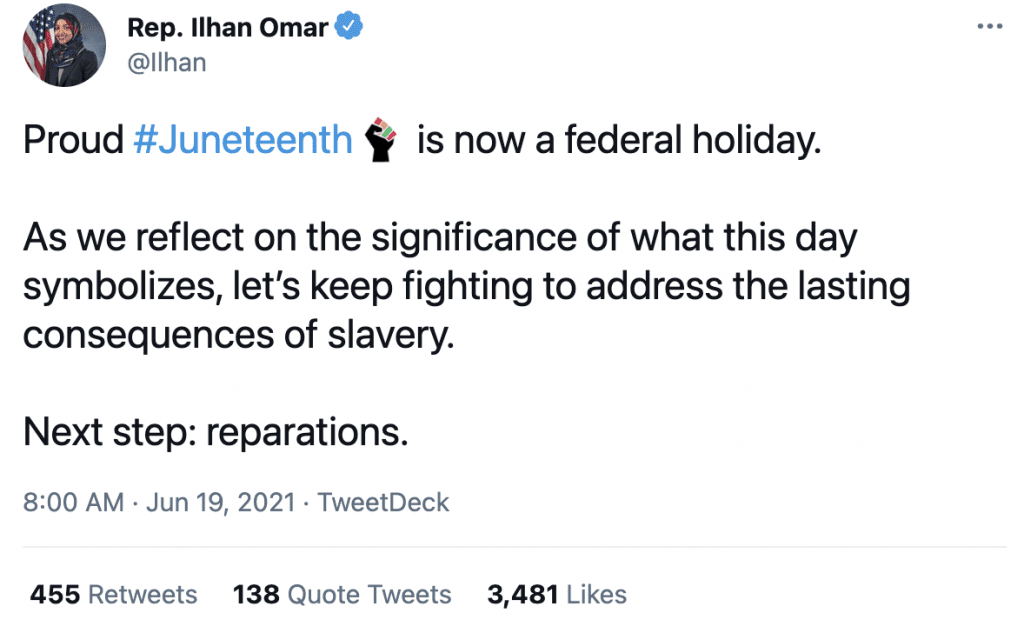 """Omar says she's proud that Juneteenth is a federal holiday wants """"reparations"""" next"""