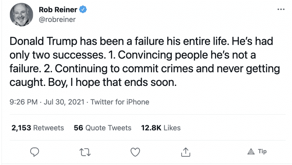 """Rob Reiner claims Trump has """"been a failure his entire life"""" with only two successes"""