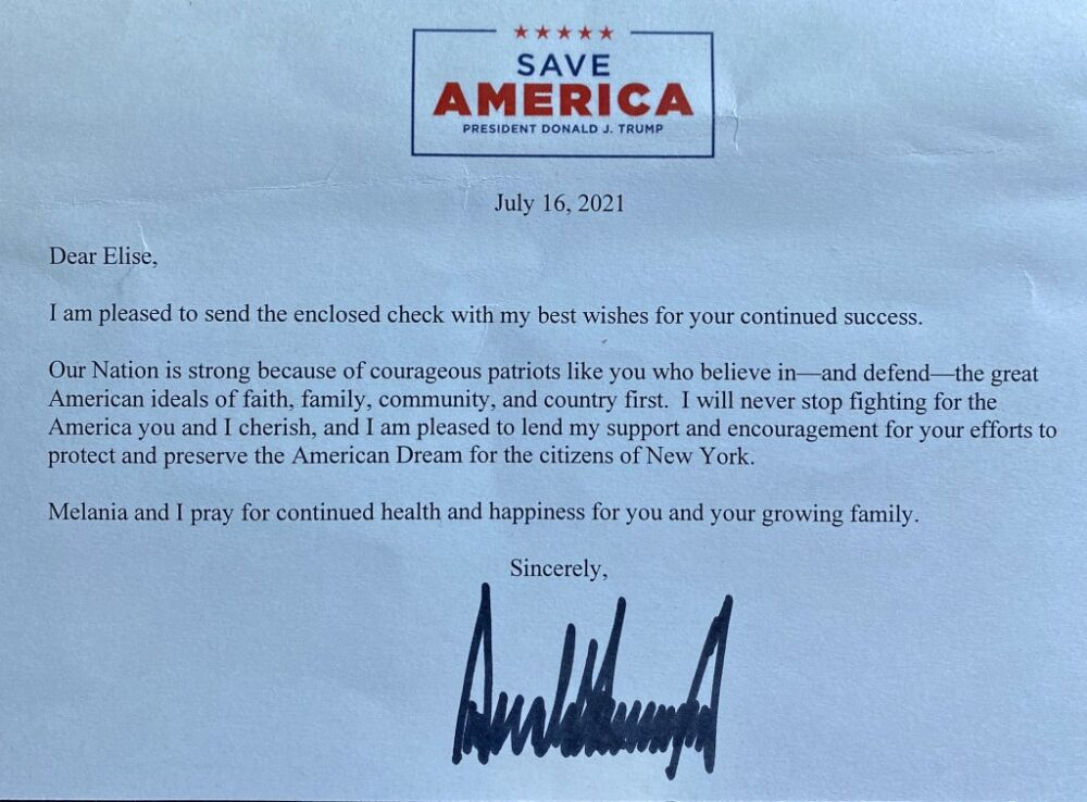"""Stefanik shares letter from Trump """"Thank you so much to my good friend, President Trump for your donation and strong support!"""""""