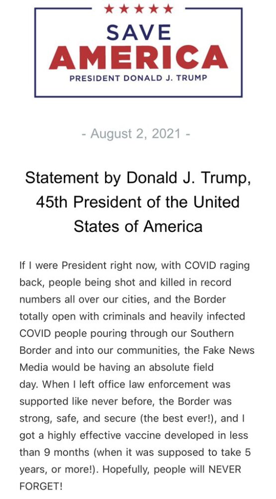 """In new statement, Trump says the media would be having """"an absolute field day"""" if """"I were President right now"""""""