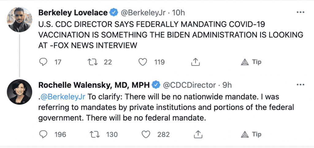 """WATCH: CDC Director says Biden admin is """"looking into"""" mandating a vaccine """"on a federal level"""""""