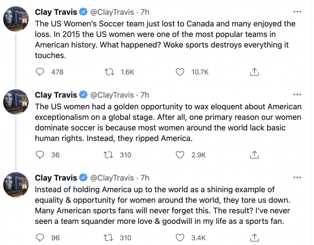 """Clay Travis says US women's soccer team have lost popularity because """"woke sports destroys everything it touches"""""""