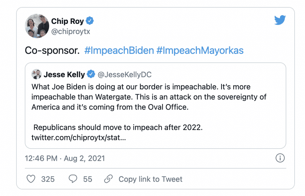 WATCH: Texas GOP Rep. Chip Roy calls for Biden to be Impeached after sharing troubling border numbers
