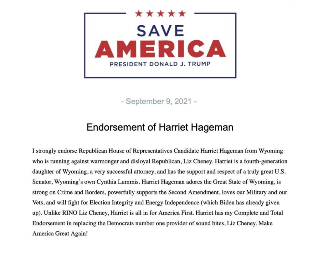 """Trump endorses Republican woman to run against Liz Cheney """"Unlike RINO Liz Cheney, Harriet is all in for America First"""""""