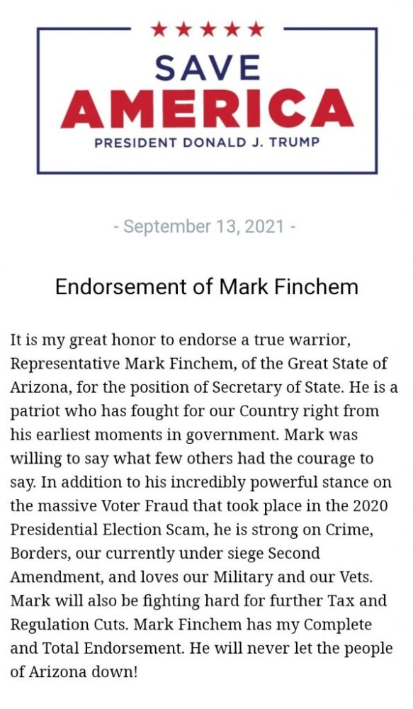 """Mark Finchem """"Trump just endorsed my campaign. We must raise what is needed to defeat the corrupt Democrats"""""""
