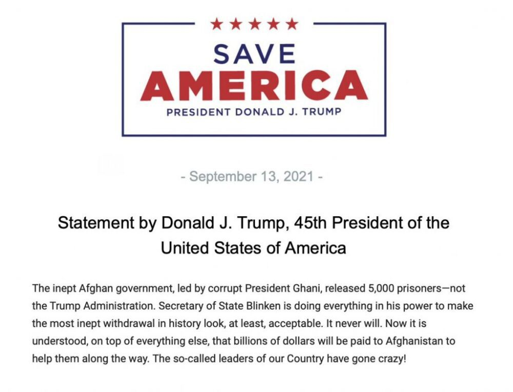 """Trump issues new statement blasting Biden, says """"the so-called leaders of our Country have gone crazy!"""""""