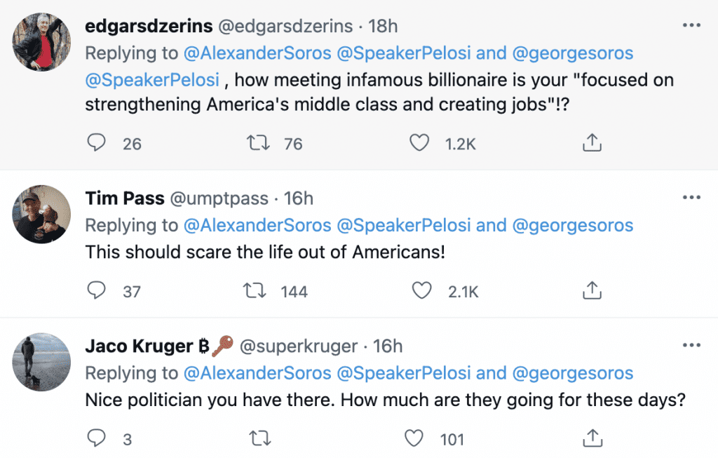 BREAKING: Pelosi photographed with George Soros and his Son