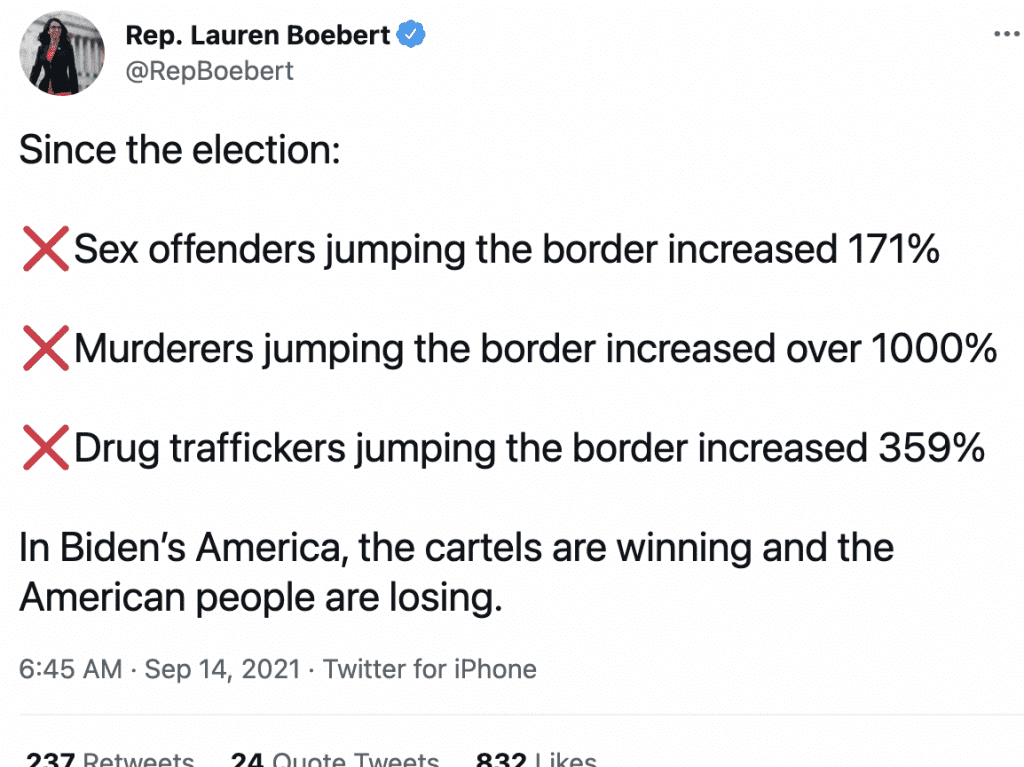 """Rep. Boebert blasts POTUS, says """"In Biden's America, the cartels are winning and the American people are losing.'"""
