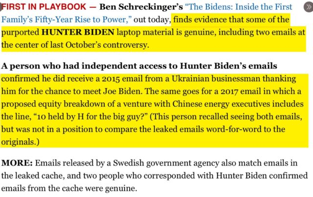 OH LOOK: Politico reports that Hunter Biden's laptop is 'genuine'; also the emails about Ukrainian businessman meeting Biden